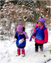 Children enjoying the garden in winter
